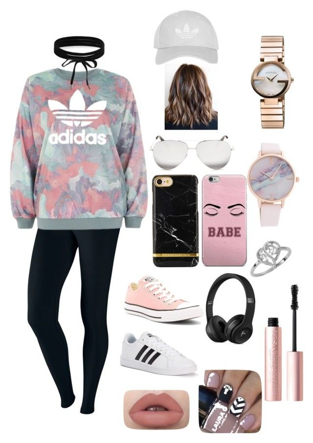 """""""adidas"""" by carmencomp on Polyvore featuring NIKE, adidas, Converse, Victoria Beckham, Topshop, Gucci, Boohoo, Too Faced Cosmetics and plus size clothing"""