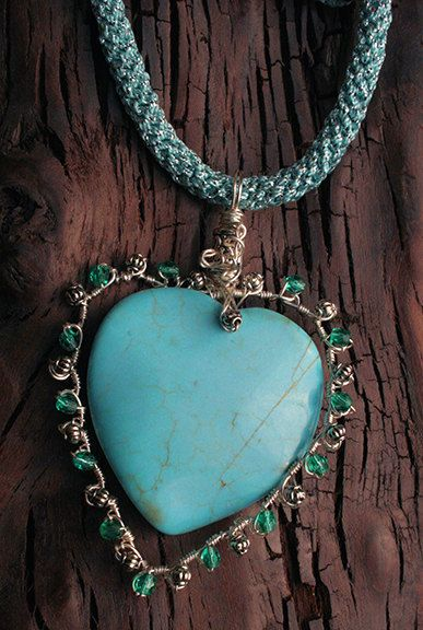 Silver Silk with with turquoise (howlite) wire wrap pendant - Necklaces & Pendants