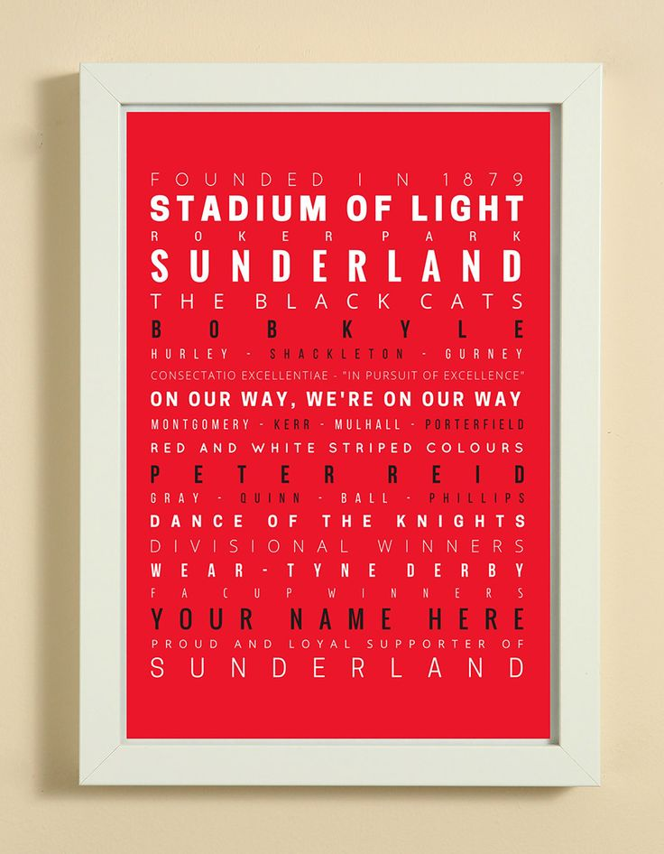 Sunderland Football Club Word Art Design Print - Words, Names And Facts Associated With Sunderland FC - In White Or Black A4 Box Frame