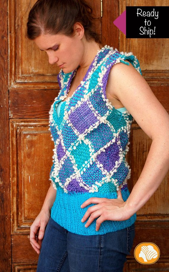 This unique cyan and purple tartan woven t-shirt is a very comfortable design made by square loom and finishing by crochet.  It is 75% cotton and 25%