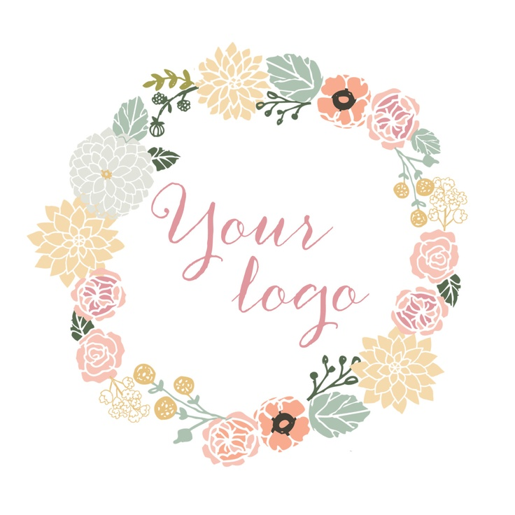 Flower wreath and calligraphy design premade business logo