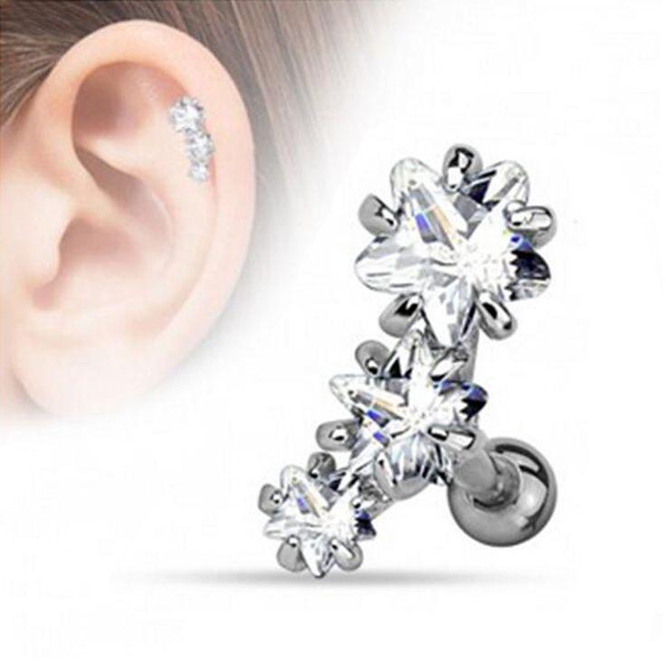 Surgical Steel Prong Set Triple Star Zircon Tragus Cartilage Helix Earring Stud Piercing Ear Body Jewelry 18g