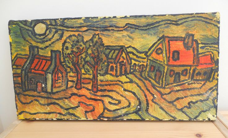 ORIGINAL VINTAGE IMPRESSIONIST STYLE PAINTING ACRYLIC ON CANVAS BY KEN WOOD ~ NOW ON MY EBAY SITE LUBBYDOT1