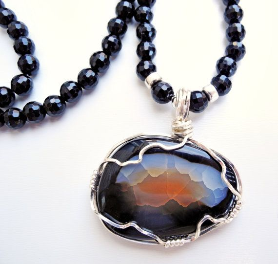 Stunning natural sunrise pendant.  108 Stone Onyx Mala with Impression Jasper by beadonawiredotca, $35.00