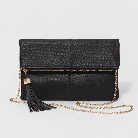 Moda Luxe Women's Faux Leather Fold Over Clutch with Crossbody Chain