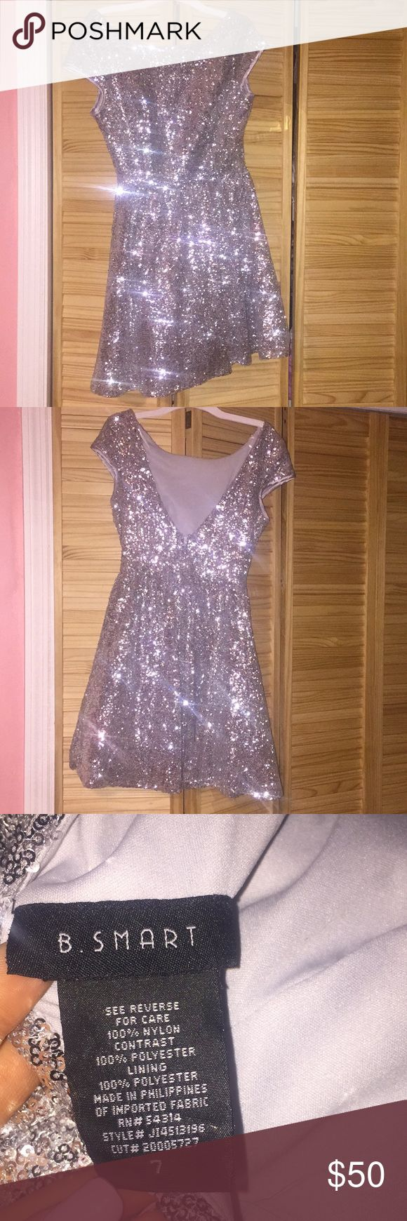 Beautiful silver sequenced dress worn one time jcpenney Dresses Prom