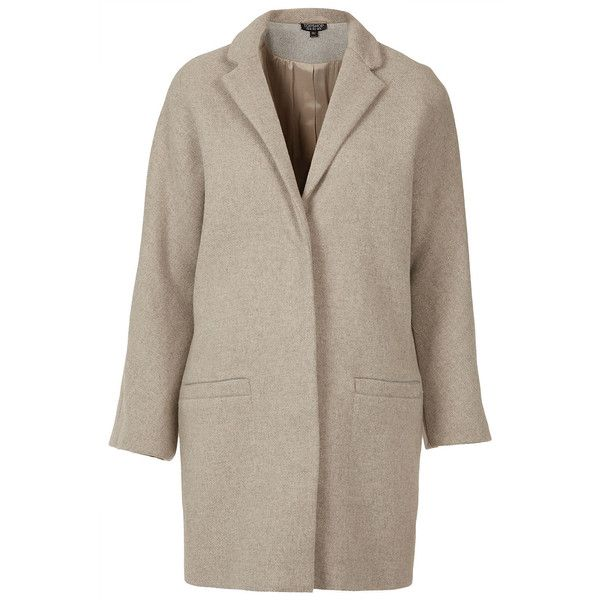 TOPSHOP Popper Front Boyfriend Coat (250 AUD) ❤ liked on Polyvore featuring outerwear, coats, jackets, coats & jackets, topshop, oatmeal marl, brown coat, boyfriend coat and topshop coat