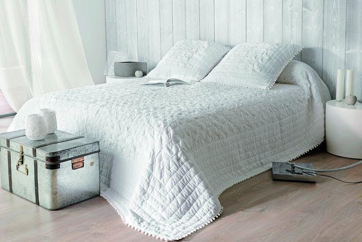 Linder 5043/10/835/240X260 Emmanuelle Jeté de Lit + 2 Taies Coton Blanc 240 x 260 cm: Amazon.fr: Cuisine & Maison