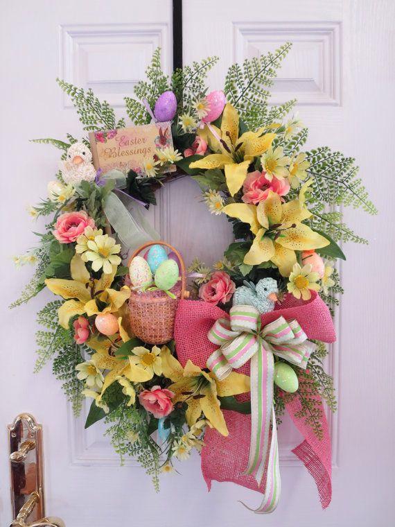 Easter Door Wreath Spring Door Wreath Lily By