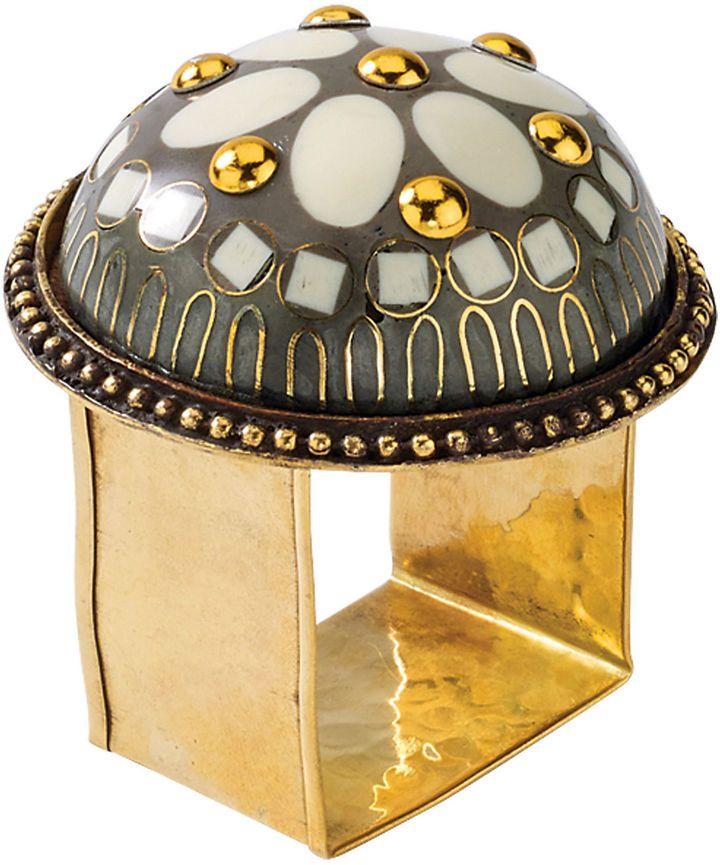 Kim Seybert S/4 Barcelona Napkin Rings, Taupe/Ivory