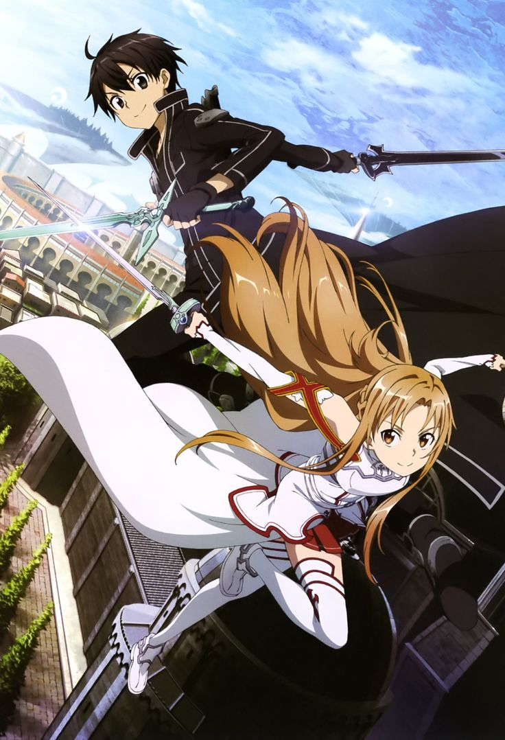 SAO - anime about teens who get stuck in VR world, have to beat the game to be freed. Theme seems to be a blend between several periods and cultures. Italian renaissance, medieval, modern...