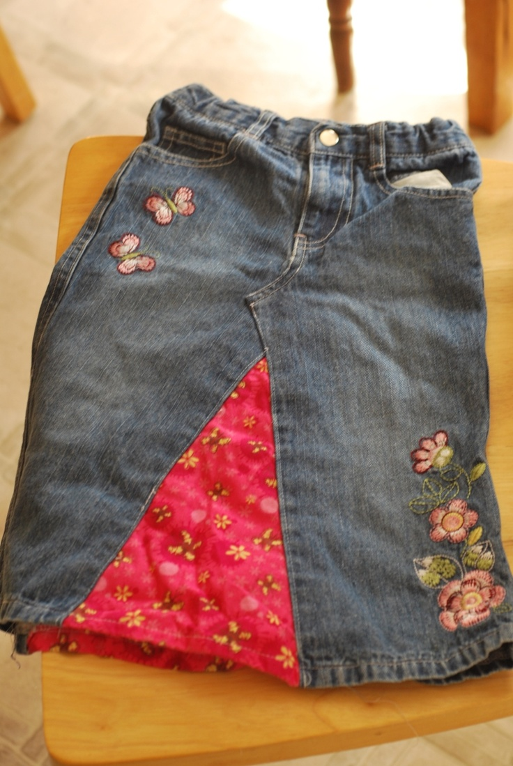 Jeans into skirt. I have a couple of jeans that need this renovation.