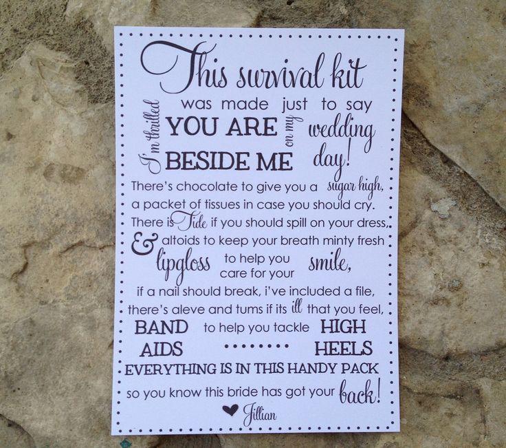 5x7 bridesmaid survival kit cards. $15.00, via Etsy.