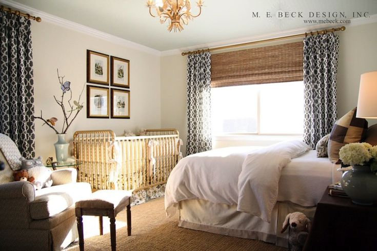 earthy guest bedroom.  schumacher palace fretwork draperies + texture + jenny lind | M.E. Beck
