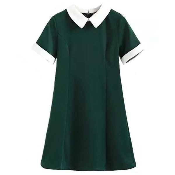 School Girl Collared Mini Dress (27.080 CRC) ❤ liked on Polyvore featuring dresses, mini dress, short green dress, green dress, short dresses and green mini dress