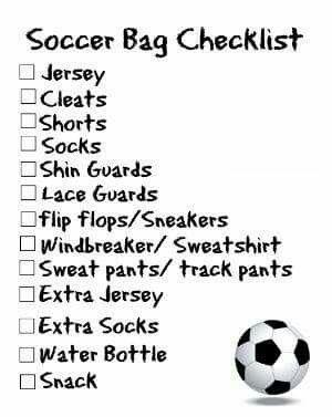 Soccer Bag Checklist