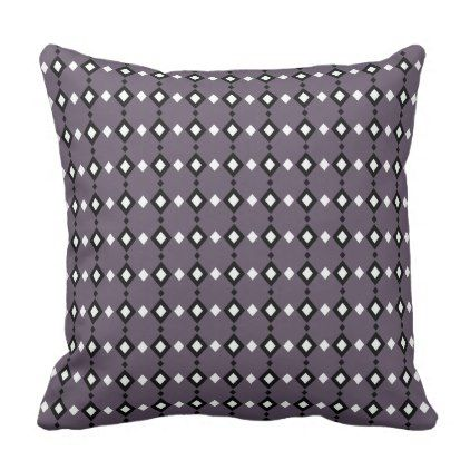 Geometric Abstract Black & White Diamonds on Grey Throw Pillow - pattern sample design template diy cyo customize