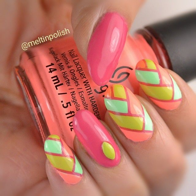 My #fishtail entry for #wnac2015! On a base of @picturepolish Watermelon, you can see alternated: @opi_products Life Gave Me Lemons @chinaglazeofficial Highlight of my Summer and Flip Flop Fantasy. Everything was done with the help of @teismom Nail Vinyls. #fishtailnails #neonnails #chinaglaze #flipflopfantasy #nails #manicure #nailvarnish #naillacquer #nailjunkie #nailart #nailsofinstagram #unhas #ongles #notd #vernis #unghie #nailpolish #nailswag #nailstagram #instanails #polishaddict…