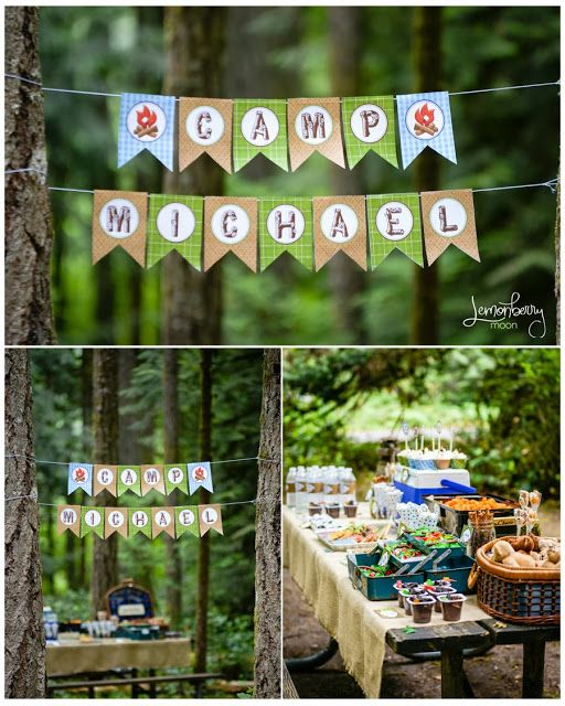 Love the banner! Will be perfect at the campground! Camping Birthday Party and FREE DOWNLOAD! #campingparty #campingpartyideas