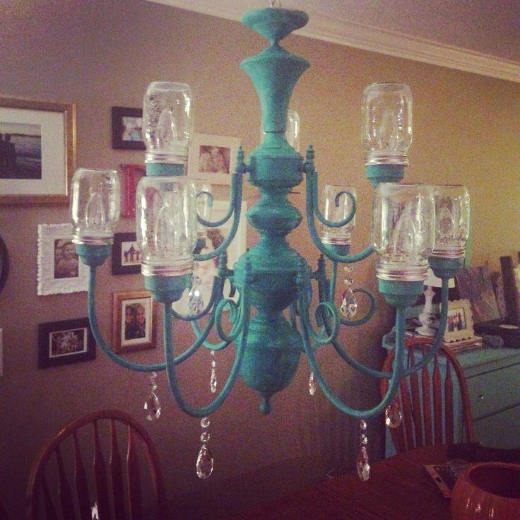Mason jar chandelier project