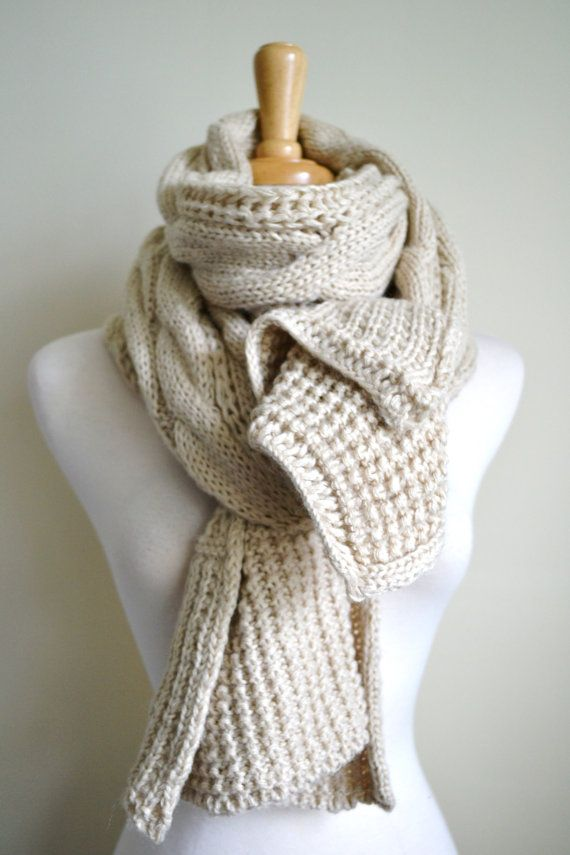 OATMEAL IVORY Creme Off White Chunky Knit Cable Pattern