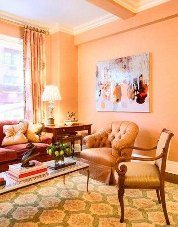 peachy kleur van de muren in het interieur