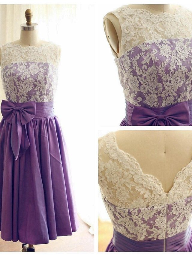 Tea -length Lace Taffeta Bridesmaid Dress - Purple A-line Boat Neckline - USD $79.99