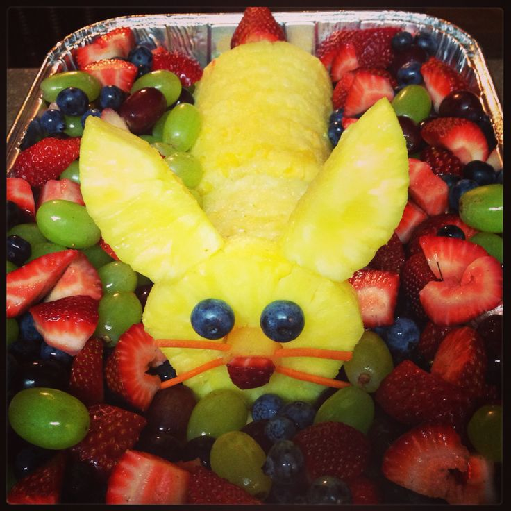 Easter Bunny pineapple and fruit tray. It's so simple!
