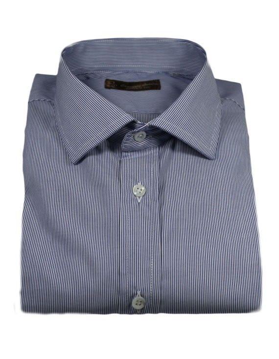 Camicia Blu a Righe Popeline