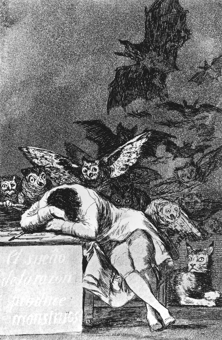 Francisco de Goya, The Sleep of Reason Produces Monsters (c.1797-1799)    Metropolitan Museum of Art, New York