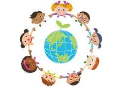 地球周围的孩子