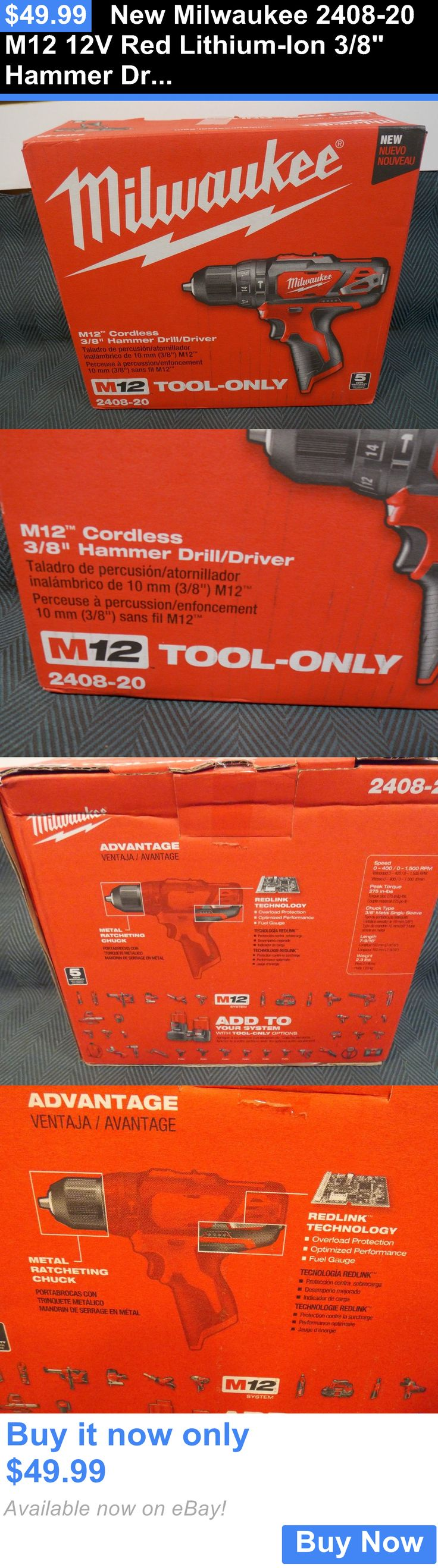 tools: New Milwaukee 2408-20 M12 12V Red Lithium-Ion 3/8 Hammer Drill Driver Cordless BUY IT NOW ONLY: $49.99