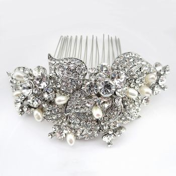 Antique Rhodium Silver Rhinestone & Freshwater Pearl Comb. Make it yours: http://styleyourday.com.au/products/Antique_Rhodium_Silver_Rhinestone_Freshwater_Pearl_Comb-792-111.html