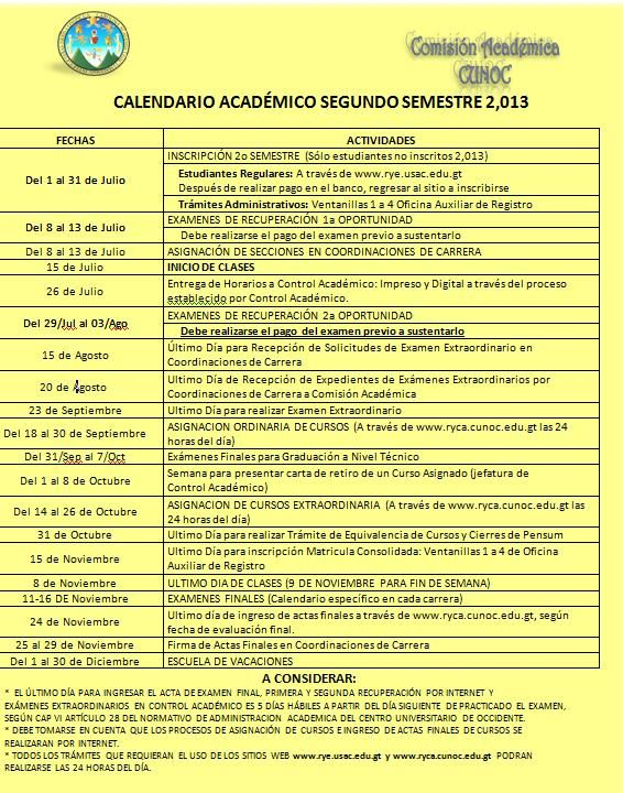 Calendario Académico del Segundo Semestre de 2013 del CUNOC-USAC.