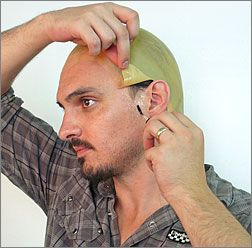 Bald Cap= instructions using latex and cream paint