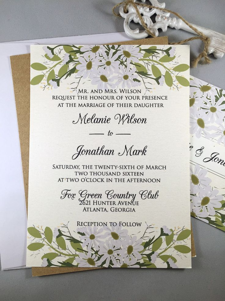 Rustic Wedding Invitation Floral Wedding Invitation Country