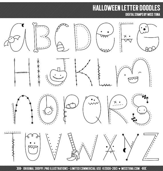 Halloween Letter Doodles Digital Stamps Clipart Clip Art Illustrations – instant download – limited commercial use ok