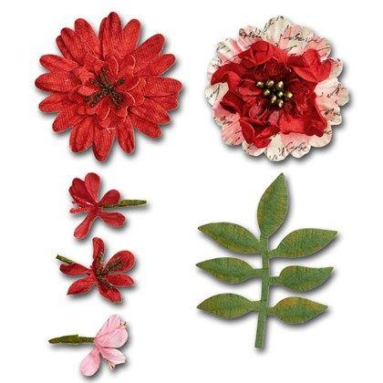 Blommor och blad av papper. Lämpliga till korttillverkning, mixed media och DIY-dekorering.