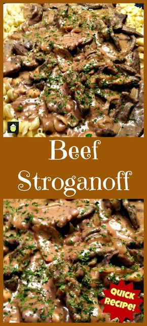 Beef Stroganoff. Quick and Easy dinner with a great sauce! | Lovefoodies.com via @lovefoodies