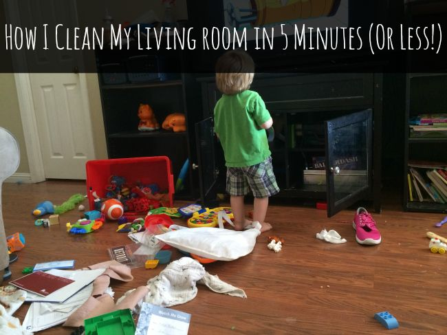 Having all of your supplies together before you begin means no distractions in the middle of cleaning up. Everything is handy when you need it. Put all items that do not belong in the living room in a container.