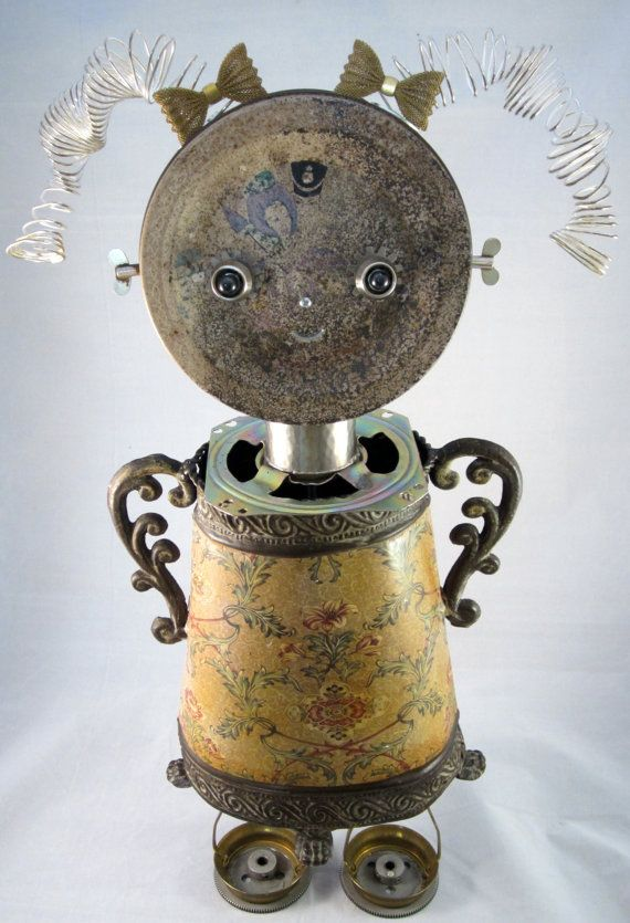 Mia Bot found object robot sculpture assemblage by by ckudja