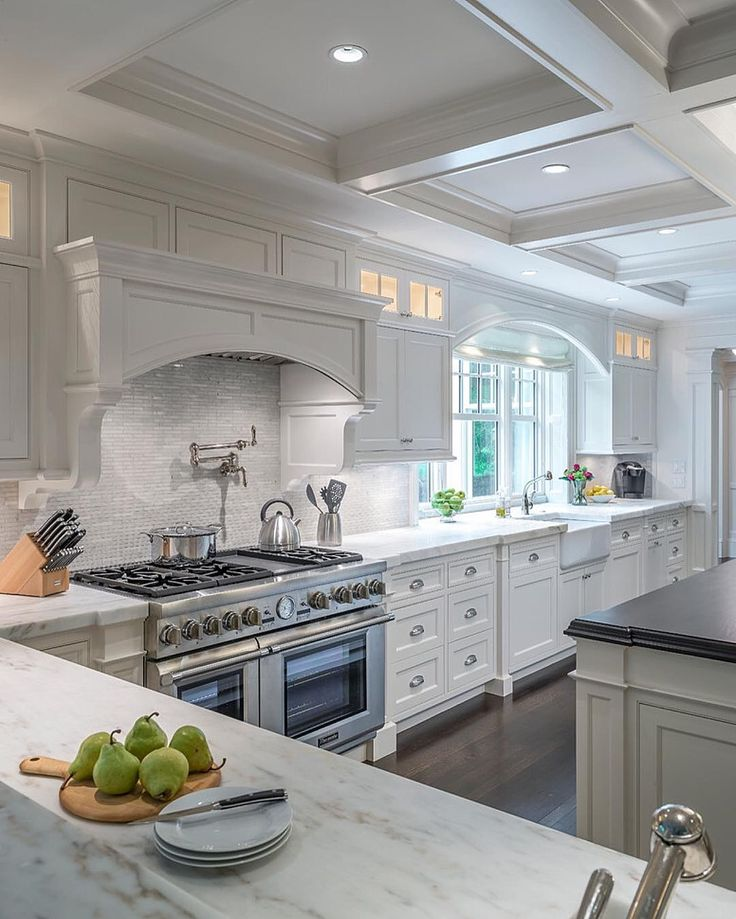 From the rich hardwood floors to the spectacular coffered ceiling and every  element in between - this truly is the perfect kitchen! By Architectura