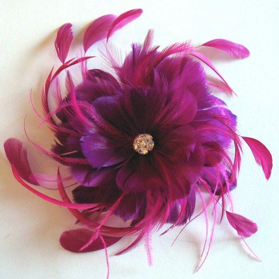 Fushcia feather flower fascinator - bridal feather hair clip - pink wedding feather flower on Etsy, $54.44