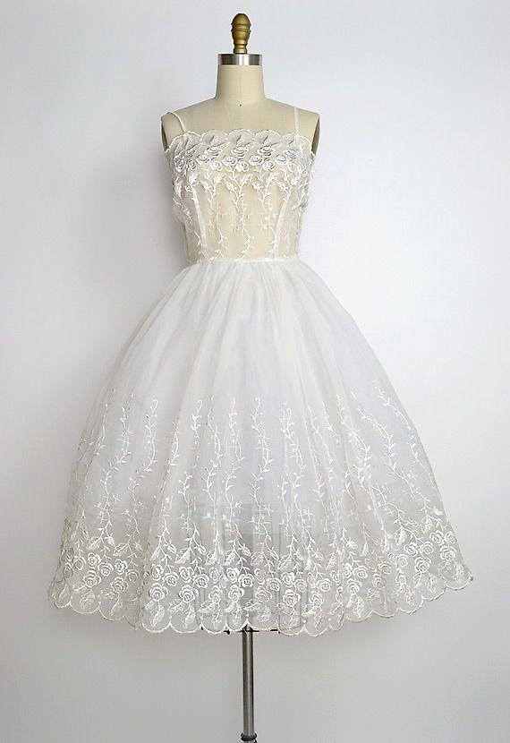 vintage 1950s sheer organza wedding dress