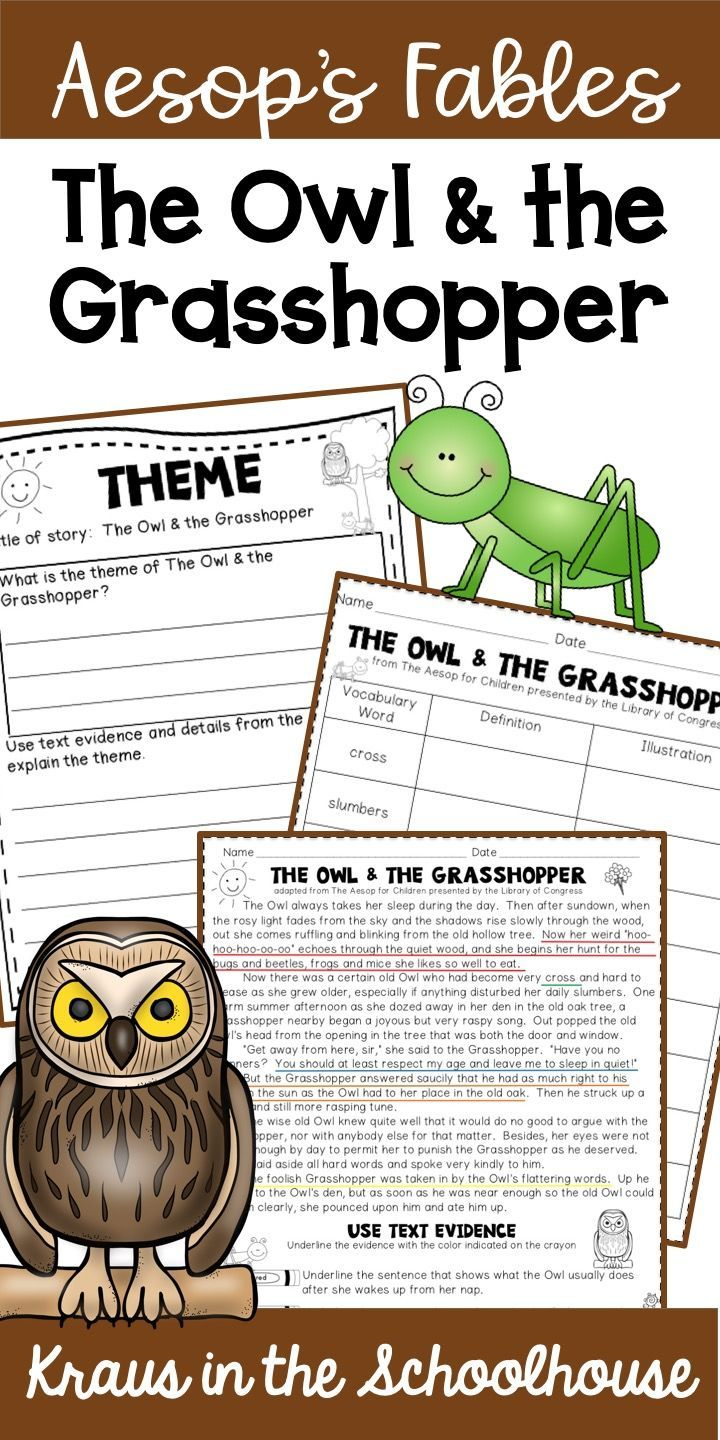 Using Aesop S Fables With Students Is A Fun Way To Teach Theme The Owl The Grasshopper Is The Perfect Fable To I Teaching Themes Teaching Reading Vocabulary [ 1440 x 720 Pixel ]