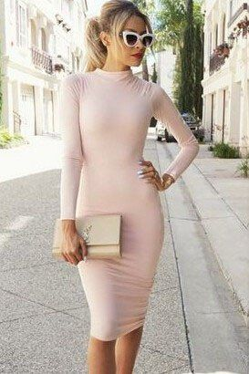 Solid Color Long Sleeve High Neck Bodycon Dress – WOMENPOP