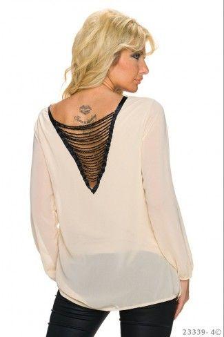 Εξώπλατη ντραπέ σιφόν μπλούζα - Κρεμ