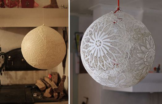 Cush and Nooks: DIY Doily Light Shade