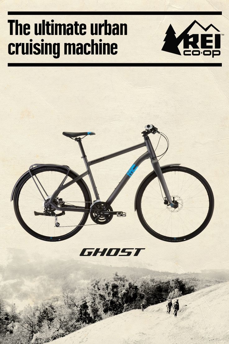 The Men's GHOST Square Urban 2 bike has sleek lines, disc brakes and fenders. An integrated cargo rack lets you mount panniers to haul groceries and other stuff. Only at REI.