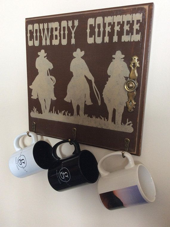 Cowboy Coffee, Reclaimed Cabinet Door, Coffee Cup Hanger, Kitchen